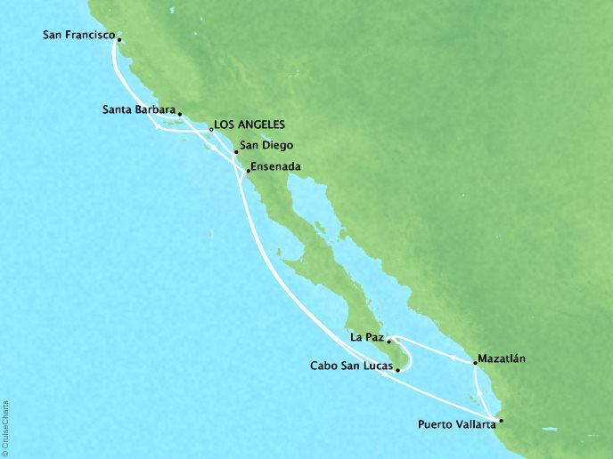 CRYSTAL LUXURY cruises Serenity Map Detail Los Angeles, CA, United States to Los Angeles, CA, United States December 7-21 2025 - 14 Days