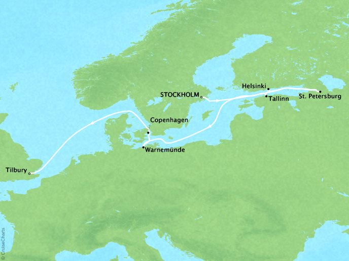 CRYSTAL LUXURY cruises Serenity Map Detail Stockholm, Sweden to Tilbury, United Kingdom June 19 July 1 2018 - 12 Days