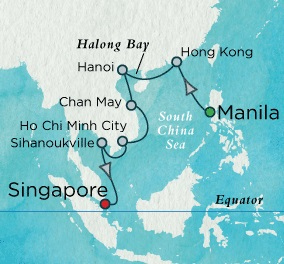 Singles Cruise - Balconies-Suites Crystal Serenity March 12-28 2018 Manila, Philippines to Singapore, Singapore