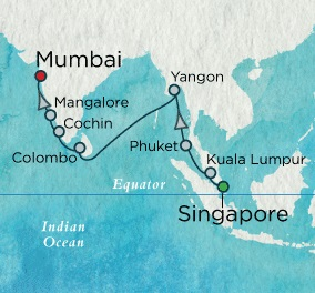 SINGLE Cruise - Balconies-Suites Crystal Serenity March 28 April 15 2021 Singapore, Singapore to Mumbai, India
