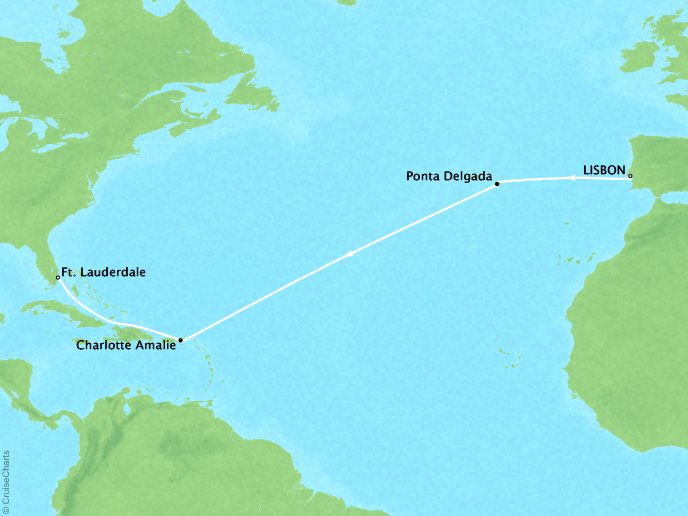 CRYSTAL LUXURY cruises Serenity Map Detail Lisbon, Portugal to Fort Lauderdale, FL, United States April 17-29 2019 - 12 Days