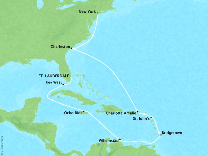 CRYSTAL LUXURY cruises Serenity Map Detail Fort Lauderdale, FL, United States to New York, NY, United States April 29 May 13 2019 - 14 Days