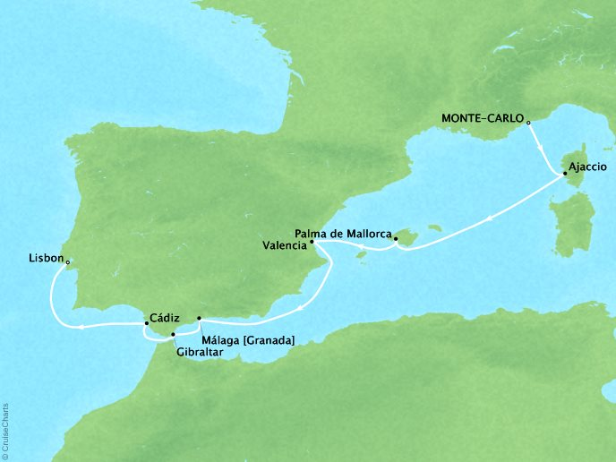 CRYSTAL LUXURY cruises Serenity Map Detail Monte Carlo, Monaco to Lisbon, Portugal April 8-17 2019 - 9 Days