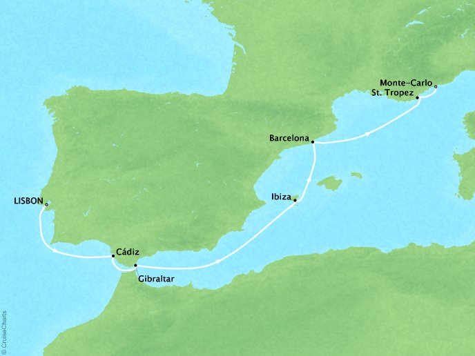Cruises Crystal Serenity Map Detail Lisbon, Portugal to Monte Carlo, Monaco August 12-23 2019 - 11 Days