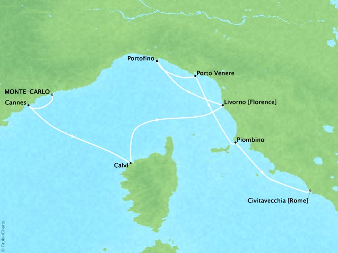 Crystal Luxury Cruises Cruises Crystal Serenity Map Detail Monte Carlo, Monaco to Civitavecchia, Italy August 23-31 2019 - 8 Days