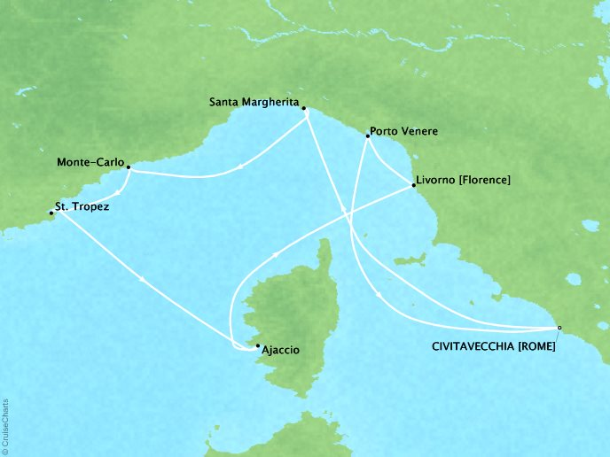 Crystal Luxury Cruises Cruises Crystal Serenity Map Detail Civitavecchia, Italy to Civitavecchia, Italy August 31 September 7 2019 - 7 Days