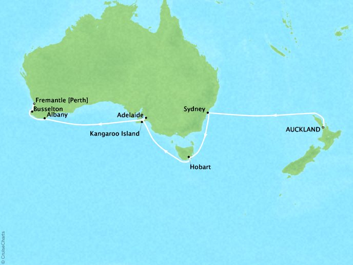 Cruises Crystal Serenity Map Detail Auckland, New Zealand to Fremantle, Australia February 5-20 2019 - 15 Days