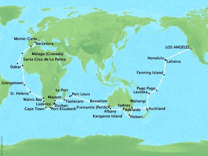 Crystal Luxury Cruises Cruises Crystal Serenity Map Detail Los Angeles, CA, United States to Monte Carlo, Monaco January 13 April 8 2019 - 87 Days