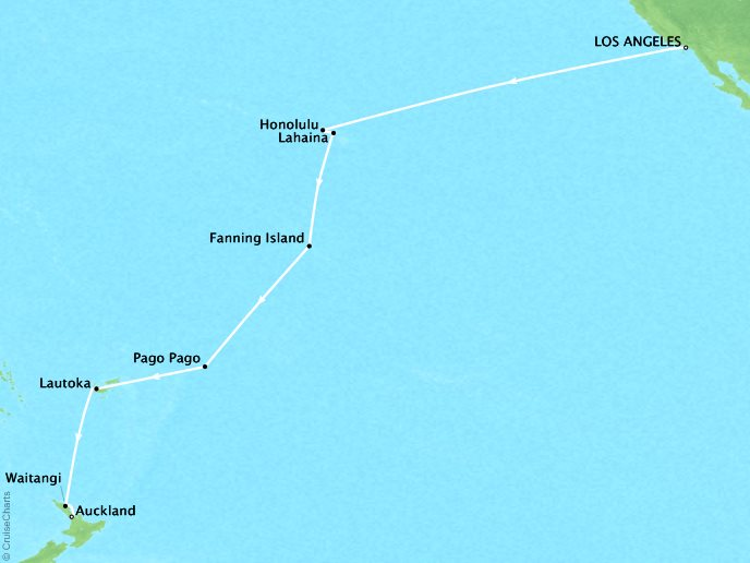 CRYSTAL LUXURY cruises Serenity Map Detail Los Angeles, CA, United States to Auckland, New Zealand January 13 February 5 2019 - 23 Days