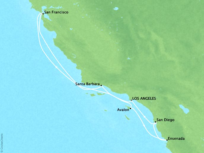 Crystal Luxury Cruises Cruises Crystal Serenity Map Detail Los Angeles, CA, United States to Los Angeles, CA, United States January 6-13 2019 - 7 Days