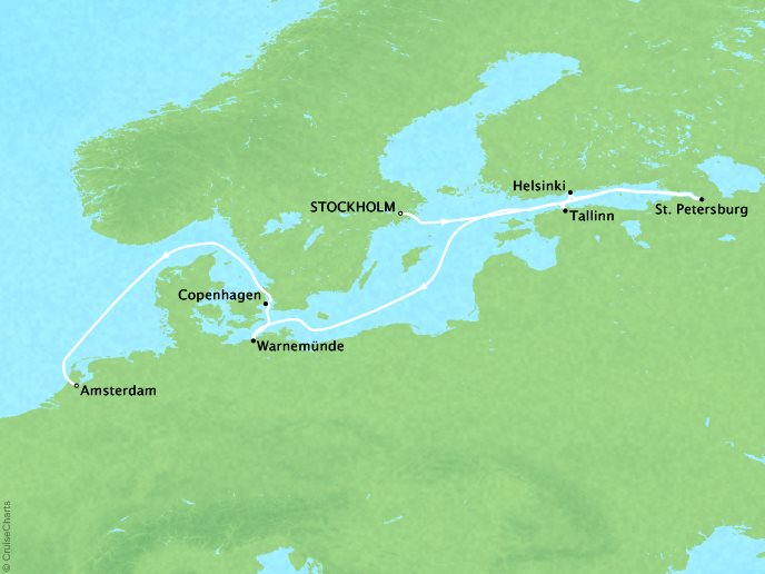 Cruises Crystal Serenity Map Detail Stockholm, Sweden to Amsterdam, Netherlands July 17-29 2019 - 12 Days