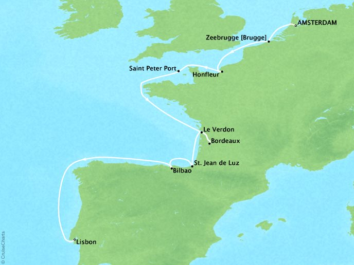 Cruises Crystal Serenity Map Detail Amsterdam, Netherlands to Lisbon, Portugal July 29 August 12 2019 - 15 Days