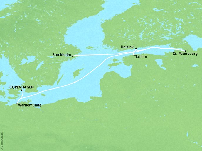 Cruises Crystal Serenity Map Detail Copenhagen, Denmark to Stockholm, Sweden July 7-17 2019 - 10 Days