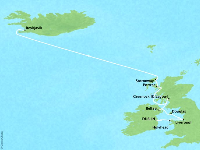 Cruises Crystal Serenity Map Detail Dublin, Ireland to Reykjavík, Iceland June 10-21 2019 - 11 Days