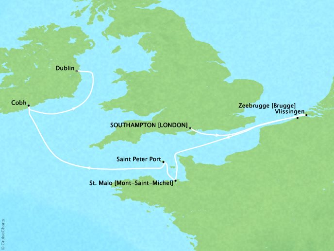 CRYSTAL LUXURY cruises Serenity Map Detail Southampton, United Kingdom to Dublin, Ireland June 2-10 2019 - 8 Days