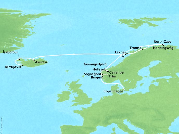 Cruises Crystal Serenity Map Detail Reykjavík, Iceland to Copenhagen, Denmark June 21 July 7 2019 - 16 Days