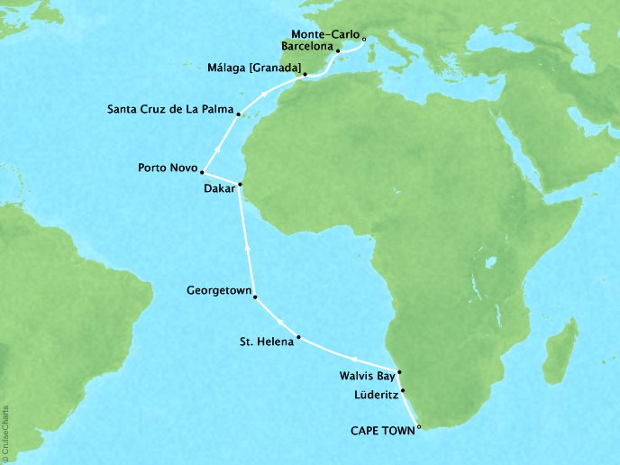 Crystal Luxury Cruises Cruises Crystal Serenity Map Detail Cape Town, South Africa to Monte Carlo, Monaco March 13 April 8 2019 - 26 Days