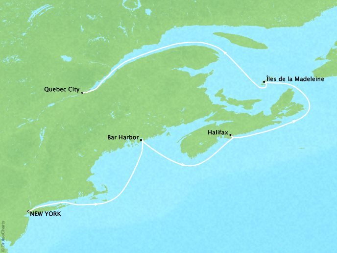 Cruises Crystal Serenity Map Detail New York, NY, United States to Québec City, Canada May 13-20 2019 - 7 Days