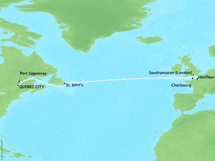 CRYSTAL LUXURY cruises Serenity Map Detail Québec City, Canada to Southampton, United Kingdom May 20 June 2 2019 - 13 Days