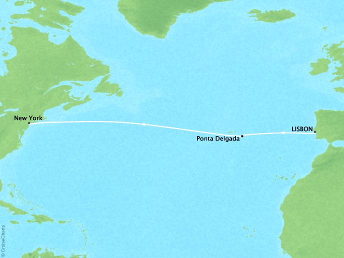 CRYSTAL LUXURY cruises Serenity Map Detail Lisbon, Portugal to New York, NY, United States November 12-21 2019 - 9 Days