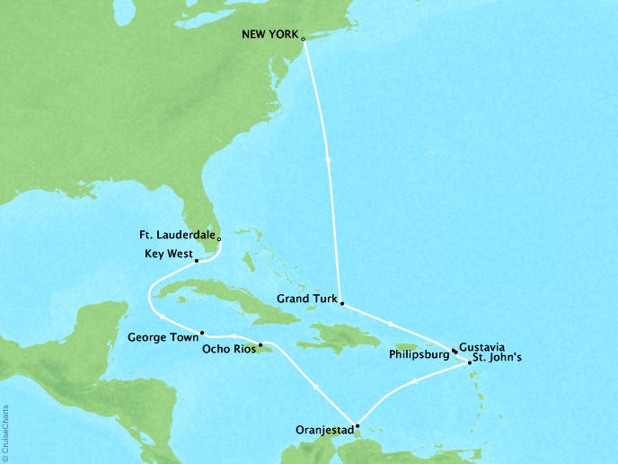 Cruises Crystal Serenity Map Detail New York, NY, United States to Fort Lauderdale, FL, United States November 21 December 6 2019 - 15 Days