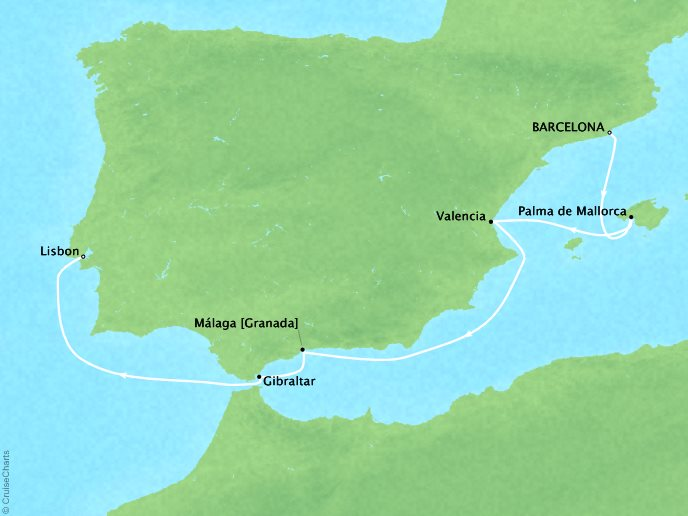 Cruises Crystal Serenity Map Detail Barcelona, Spain to Lisbon, Portugal November 5-12 2019 - 7 Days