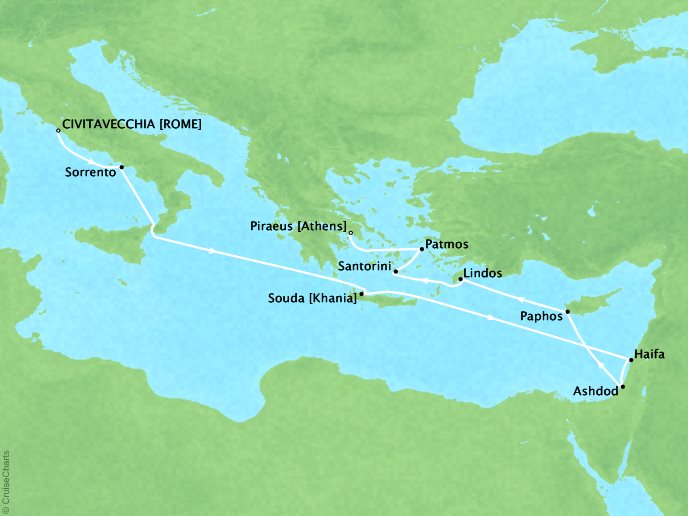 Crystal Luxury Cruises Cruises Crystal Serenity Map Detail Civitavecchia, Italy to Piraeus, Greece October 10-23 2019 - 13 Days