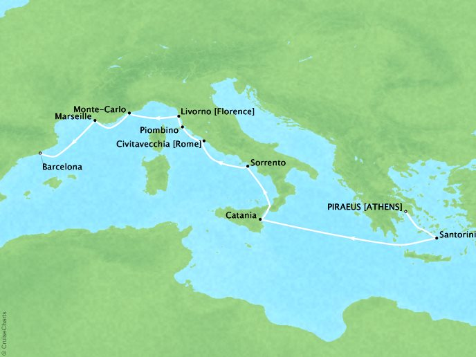 Crystal Luxury Cruises Cruises Crystal Serenity Map Detail Piraeus, Greece to Barcelona, Spain October 23 November 5 2019 - 13 Days