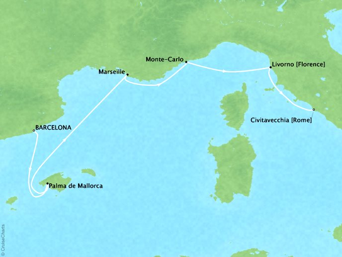 Crystal Luxury Cruises Cruises Crystal Serenity Map Detail Barcelona, Spain to Civitavecchia, Italy October 3-10 2019 - 7 Days