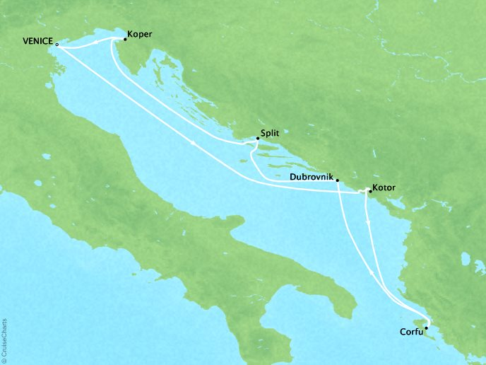 Crystal Luxury Cruises Cruises Crystal Serenity Map Detail Venice, Italy to Venice, Italy September 14-21 2019 - 7 Days