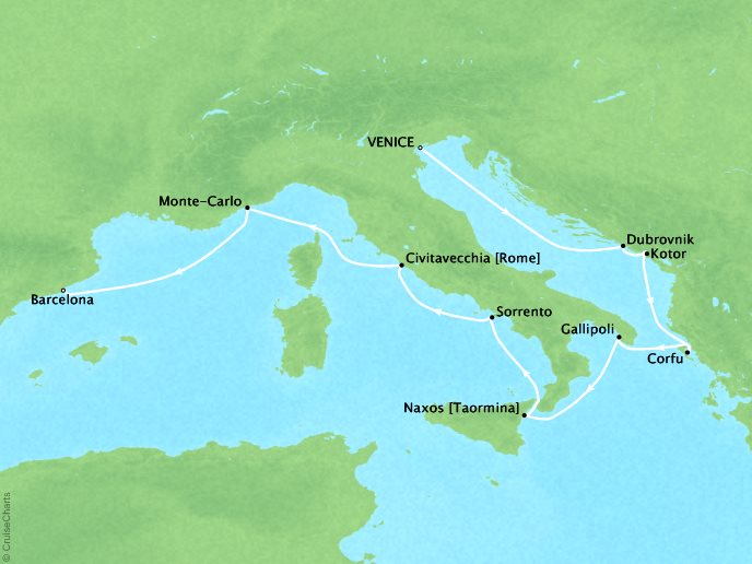 Crystal Luxury Cruises Cruises Crystal Serenity Map Detail Venice, Italy to Barcelona, Spain September 21 October 3 2019 - 12 Days