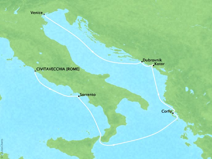 Crystal Luxury Cruises Cruises Crystal Serenity Map Detail Civitavecchia, Italy to Venice, Italy September 7-14 2019 - 7 Days