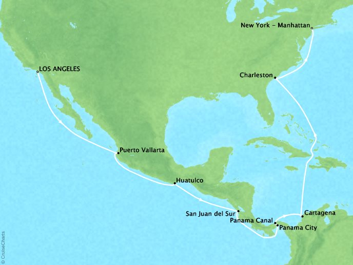 Cruises Crystal Symphony Map Detail Los Angeles (San Pedro), CA to New York (Brooklyn), NY April 30 May 19 2017 - 19 Days