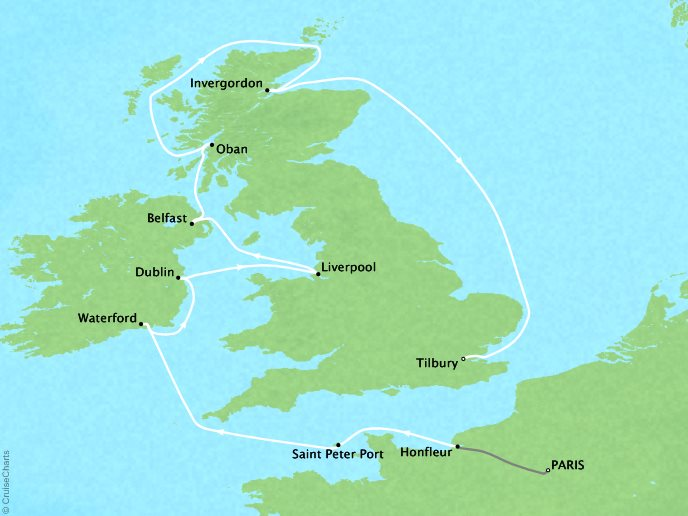 Cruises Crystal Symphony Map Detail Paris, France to London (Tilbury), England August 11-25 2017 - 14 Days
