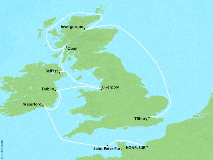 Cruises Crystal Symphony Map Detail Honfleur, France to London (Tilbury), England August 13-25 2017 - 12 Days