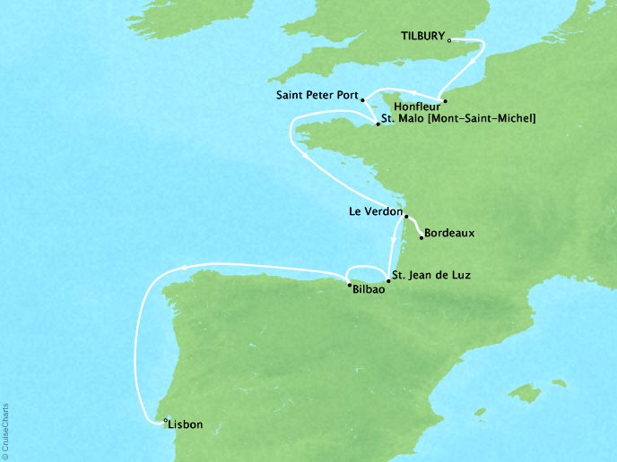Cruises Crystal Symphony Map Detail London (Tilbury), England to Lisbon, Portugal August 25 September 6 2017 - 12 Days