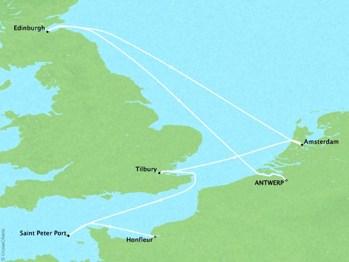 Cruises Crystal Symphony Map Detail Antwerp, Belgium to Honfleur, France August 3-13 2017 - 10 Days