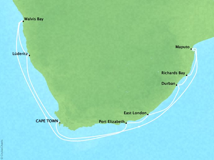 Cruises Crystal Symphony Map Detail Cape Town, South Africa to Cape Town, South Africa December 22 2017 January 7 2018 - 16 Days