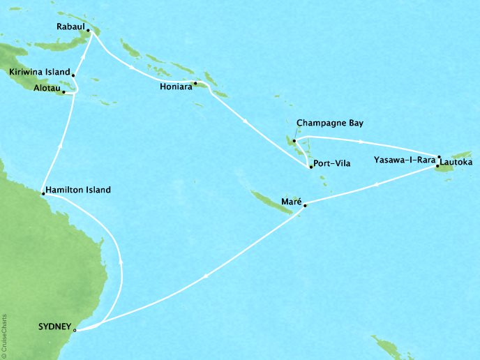 Cruises Crystal Symphony Map Detail Sydney, Australia to Sydney, Australia January 20 February 10 2017 - 21 Days