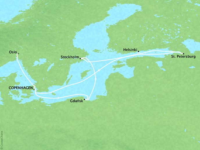 Cruises Crystal Symphony Map Detail Copenhagen, Denmark to Oslo, Norway JUly 4-16 2017 - 12 Days