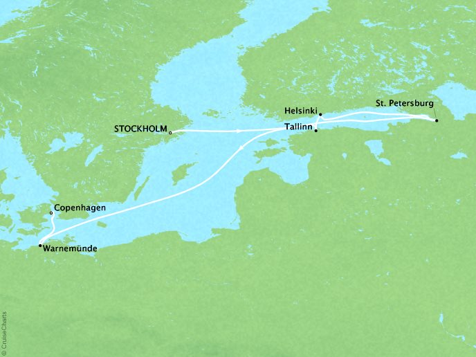 Cruises Crystal Symphony Map Detail Stockholm, Sweden to Copenhagen, Denmark June 24 July 4 2017 - 10 Days