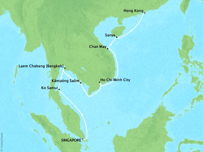 Cruises Crystal Symphony Map Detail Singapore to Hong Kong March 7-20 2017 - 13 Days