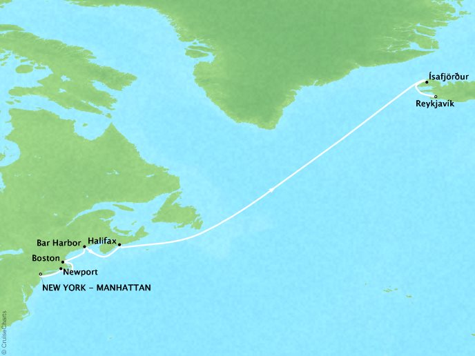 Cruises Crystal Symphony Map Detail New York (Brooklyn), NY to Reykjavik, Iceland May 19-31 2017 - 12 Days