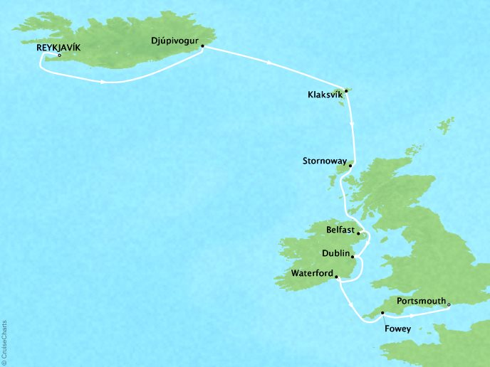 Cruises Crystal Symphony Map Detail Reykjavik, Iceland to Portsmouth, England May 31 June 10 2017 - 10 Days