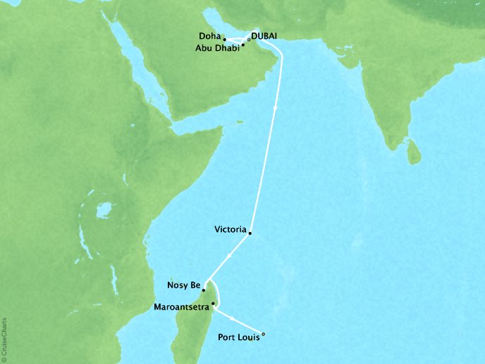 Cruises Crystal Symphony Map Detail Dubai, United Arab Emirates to Mauritius (Port Louis) November 22 December 9 2017 - 17 Days