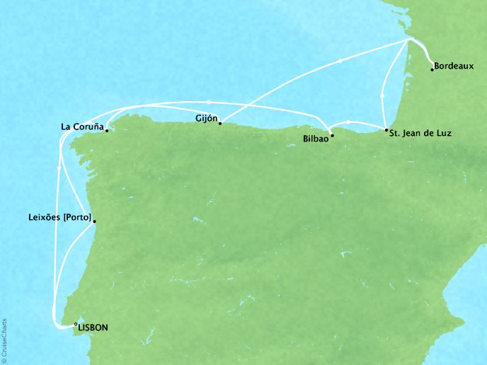 Cruises Crystal Symphony Map Detail Lisbon, Portugal to Lisbon, Portugal October 10-21 2017 - 11 Days