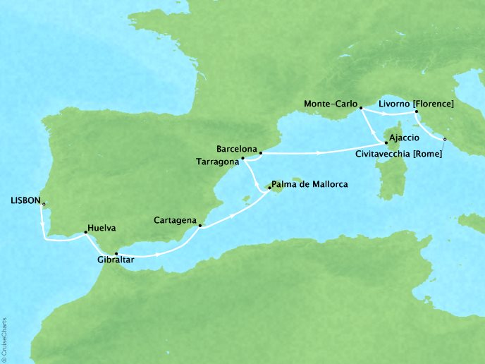 Cruises Crystal Symphony Map Detail Lisbon, Portugal to Rome (Civitavecchia), Italy October 21 November 4 2017 - 14 Days