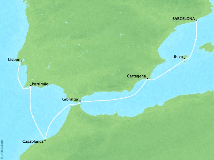 Cruises Crystal Symphony Map Detail Barcelona, Spain to Lisbon, Portugal October 3-10 2017 - 7 Days