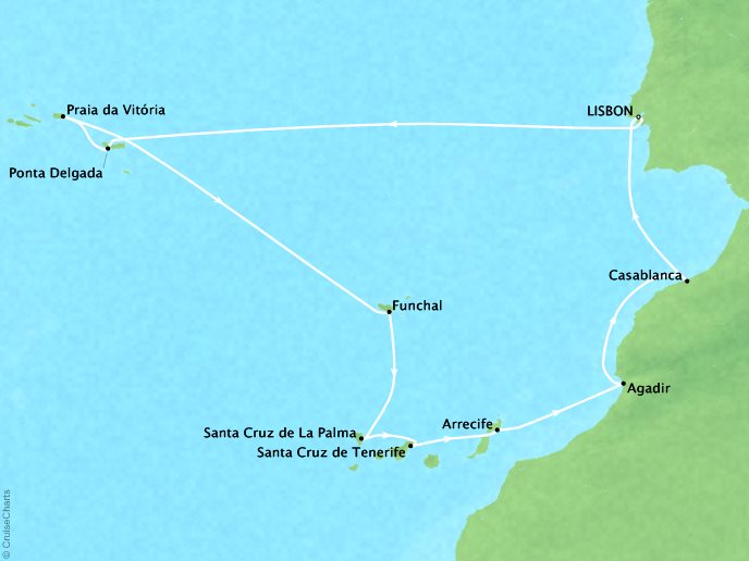 Cruises Crystal Symphony Map Detail Lisbon, Portugal to Lisbon, Portugal September 6-19 2017 - 13 Days