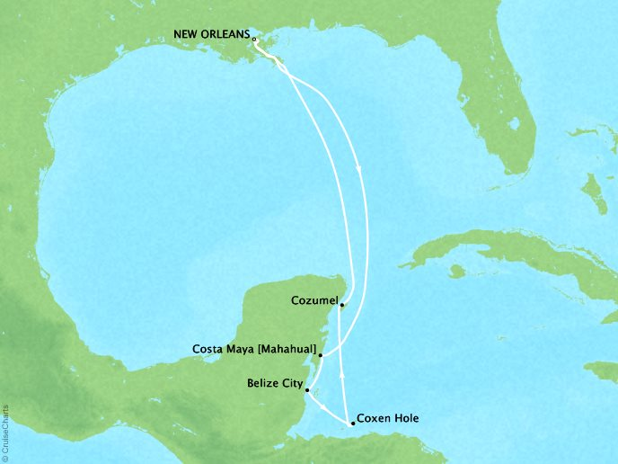 Cruises Crystal Symphony Map Detail New Orleans, LA, United States to New Orleans, LA, United States December 15-22 2018 - 7 Days